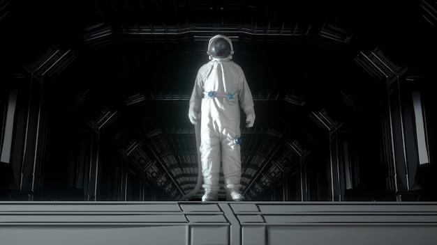 Samotny astronauta w futurystycznym korytarzu kosmicznym, pokoju. planeta ziemia odbija się w hełmie skafandra. renderowanie 3d.