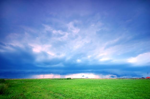 Samotny łąka z nieba tle