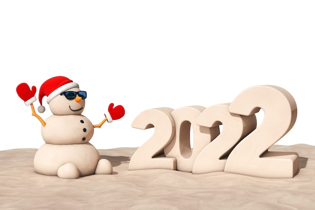 Sandy christmas snowman w słonecznym brzegu z ekstremalnym zbliżeniem znak nowego roku 2022. renderowanie 3d