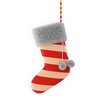 Santa sock na białym tle