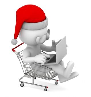 Santa z laptopem wewnątrz koszyka. koncepcja e-commerce.