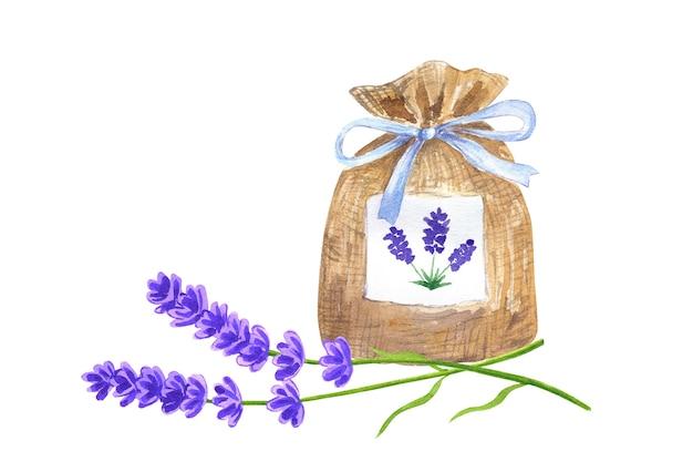 Saszetka lawendowa z niebieską wstążką i kwiatami lawendy. ręcznie rysowane akwarela ilustracja. odosobniony.