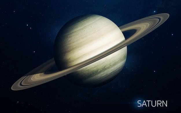 Saturn - planety układu słonecznego w wysokiej jakości. tapeta naukowa.