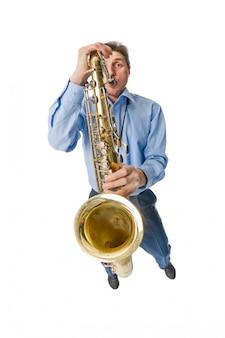 Sax Player Na Białym Darmowe Zdjęcia