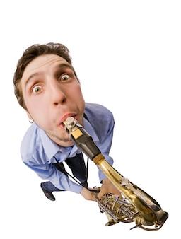 Sax player na białym