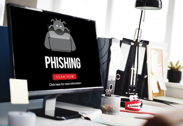 Scam virus spyware malware antivirus koncepcja