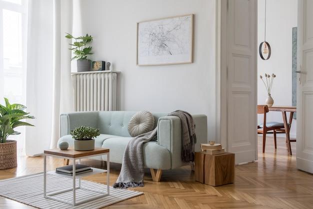 Scandi salon wystrój wnętrz z makiety ramka plakatowa sofa i akcesoria szablon