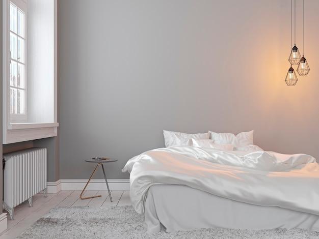 Scandinavin loft szary puste wnętrza sypialni z łóżkiem, stołem i lampą. ilustracja renderowania 3d.