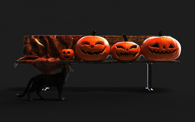Scary jack o lantern halloween pumpkins and black cat.