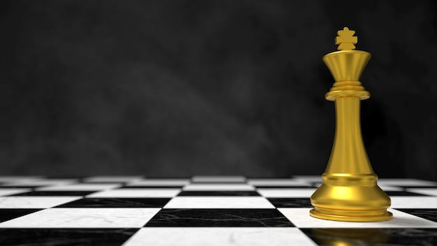 Scena 3d szachy złoty król na szachownicy