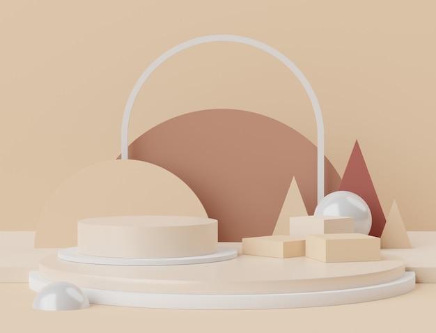 Scena 3d wyświetlaczy podium do prezentacji makiet i produktów z minimalnym tłem w tonie ziemi