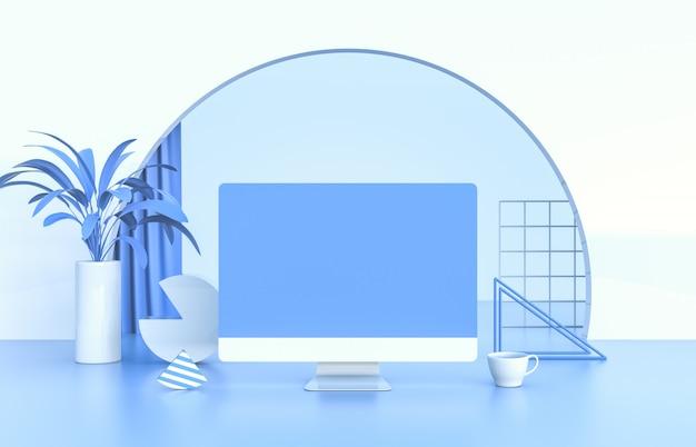 Scena 3d z komputerem stacjonarnym i ikoną narzędzi marketingowych. praca z domu koncepcji.