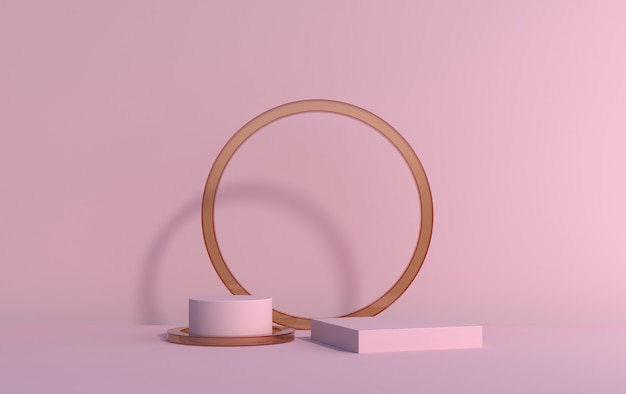 Scena 3d z platform do demonstracji produktu na różowym tle, renderowanie 3d