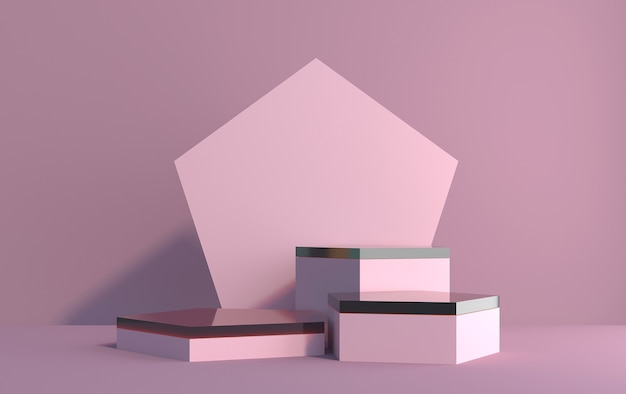 Scena 3d z sześciokątów do demonstracji produktu w różowych kolorach, renderowanie 3d