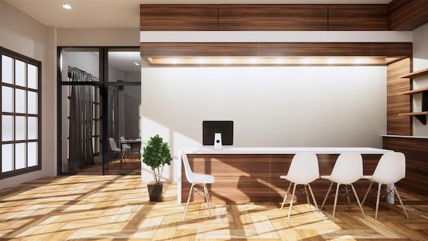 Scena biuro biurko stoi w biurze. renderowania 3d