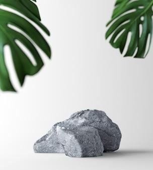 Scena blanc do prezentacji produktu. studio białe tło umieszczenie z sosami i liściem palmowym. zawartość ilustracji 3d