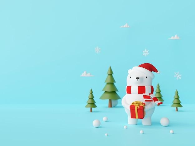 Scena boże narodzenie niedźwiedź trzyma prezent na błękitnym tle, 3d rendering