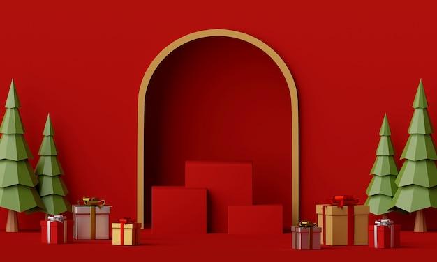 Scena czerwony podium z renderowania 3d prezent na boże narodzenie