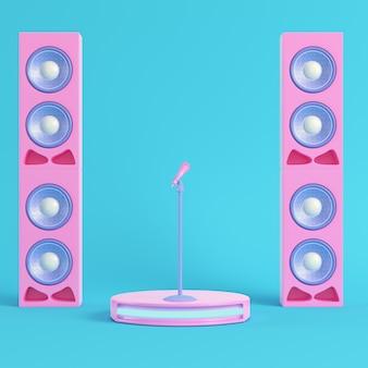 Scena koncertowa z mikrofonem i głośnikami na jasnoniebieskim tle w pastelowych kolorach