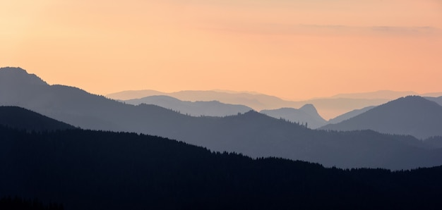 Scena pasmo górskie lasu o wschodzie słońca. wschód słońca w górach. panoramiczny krajobraz górski.
