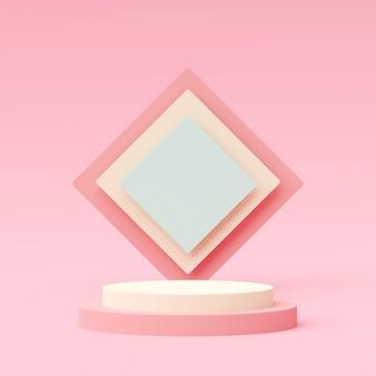 Scena pastelowy kolor z geometrycznym kształta podium na różowym tle, 3d rendering