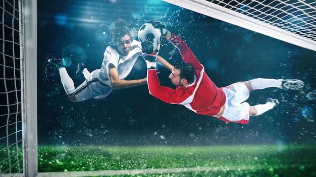 Scena piłki nożnej z graczem, który uderza piłkę w locie na stadionie