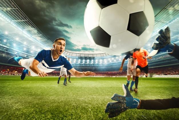 Scena piłki nożnej z rywalizującymi piłkarzami na stadionie. renderowanie 3d