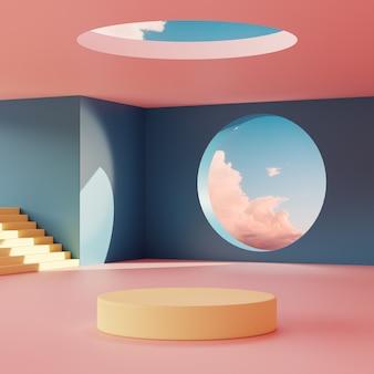 Scena podium stoi na tle geometrycznych kształtów na tle zachmurzonego nieba