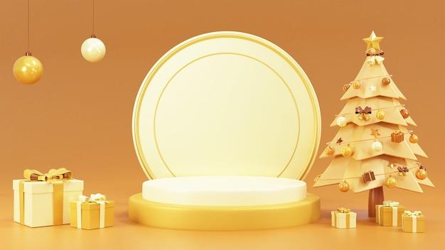 Scena podium z bałwanem i pudełkami na prezenty