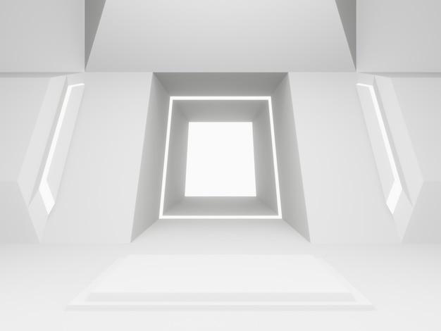 Scena pokoju białego statku kosmicznego renderowana w 3d. futurystyczne tło.