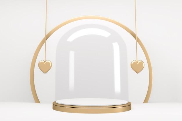 Scena produktów o minimalistycznym designie glass white podium. renderowanie 3d