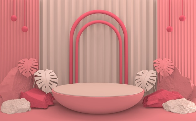 Scena produktu o minimalnym designie podium tropical abstract valentine różowy.