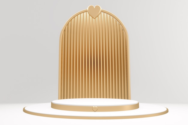 Scena produktu w minimalistycznym stylu adstract gold and white podium. renderowanie 3d