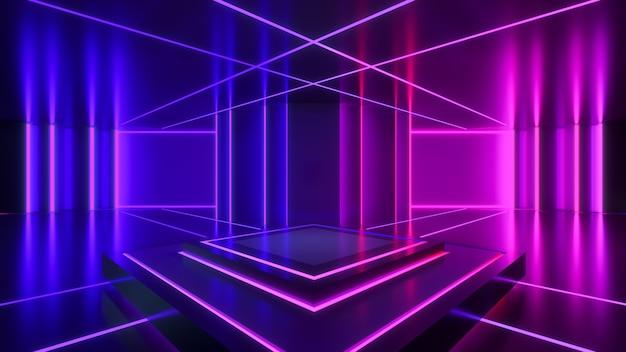 Scena prostokąta z neonowym światłem, abstrakcyjne futurystyczne tło, koncepcja ultrafioletu, renderowanie 3d