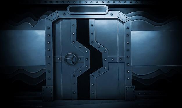 Scena science-fiction, metalowa brama statku kosmicznego
