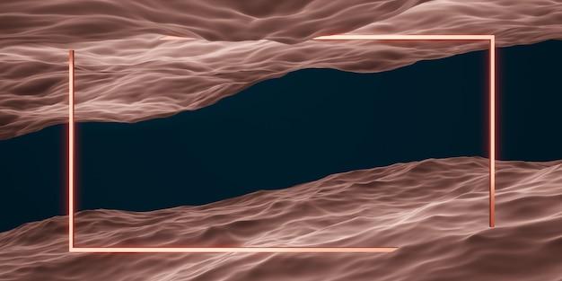 Scena studyjna z kwadratową ramą i geometrią powierzchni wody do prezentacji produktu lub renderowania tekstu 3d