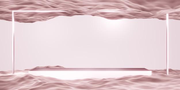 Scena studyjna z kwadratową ramą i geometrią powierzchni wody do prezentacji produktu lub tekstu