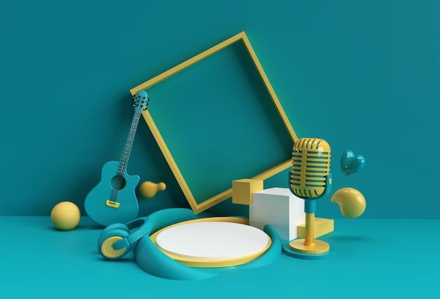 Scena tła muzycznego renderowania 3d z minimalną sceną podium do projektowania reklam produktów wyświetlających.
