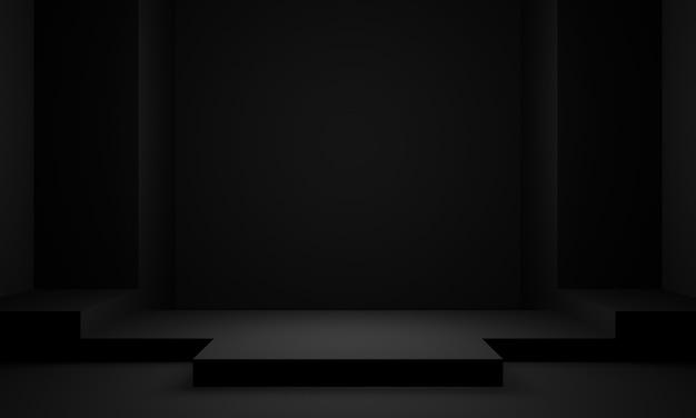 Scena w ciemnym pokoju. czarny stojak. renderowanie 3d.