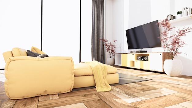 Scena wnętrza makiety z żółtą sofą i dekoracji na minimalizm pokoju. renderowanie 3d