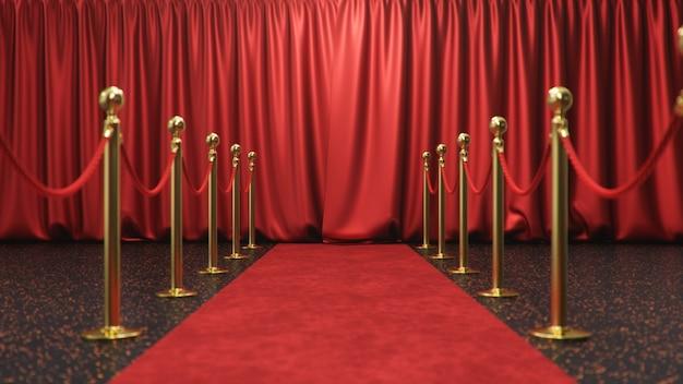 Scena wręczenia nagród z zamkniętymi czerwonymi zasłonami. czerwony aksamitny dywan między złotymi barierami. scena teatralna