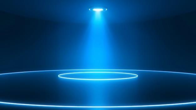 Scena z błyszczącą podłogą w centrum uwagi. świecące kółka neonowe. niebieskie tło