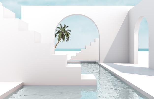 Scena z geometrycznymi formami, łuk z podium w naturalnym świetle dziennym. minimalne tło krajobraz. widok morza. scena letnia. renderowania 3d tła.