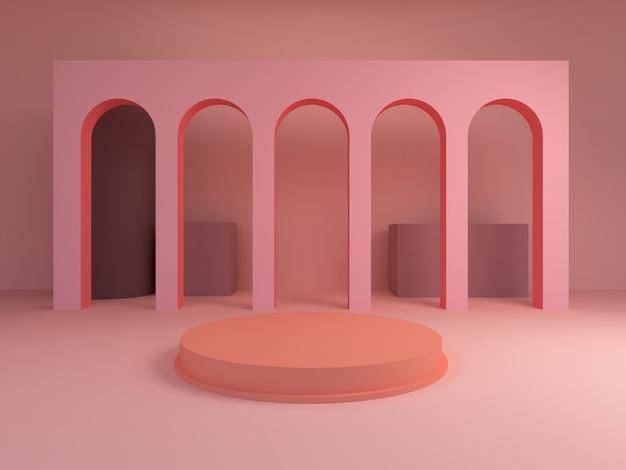 Scena z geometrycznymi formami, łuki z okrągłym podium w pastelowych i różowych kolorach