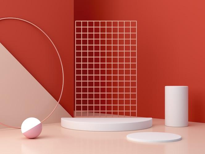 Scena z geometrycznymi formami pokazującymi produkty kosmetyczne.