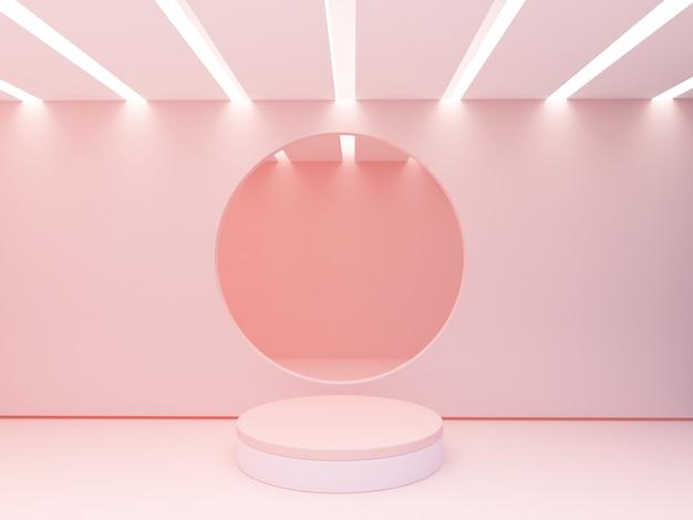 Scena z geometrycznymi formami z pustym podium. figury geometryczne