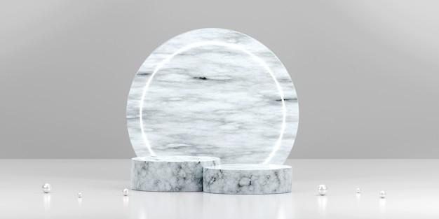 Scena z minimalistycznego marmurowego podium w kształcie geometrycznym dla ilustracji 3d reklamy produktu