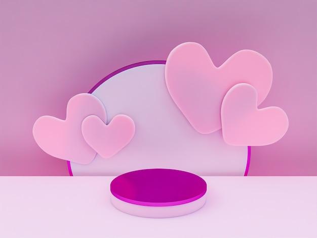 Scena z podium do prezentacji w minimalistycznym stylu renderowania 3d abstrakcyjny wzór tła