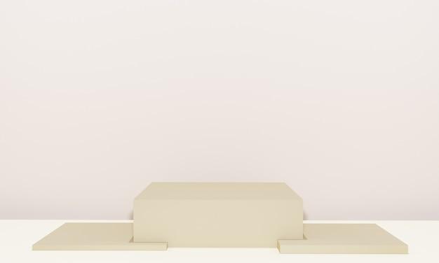 Scena z podium w kolorze beżowym do prezentacji makiety w stylu minimalizmu z przestrzenią do kopiowania, 3d renderowania abstrakcyjnego projektu tła