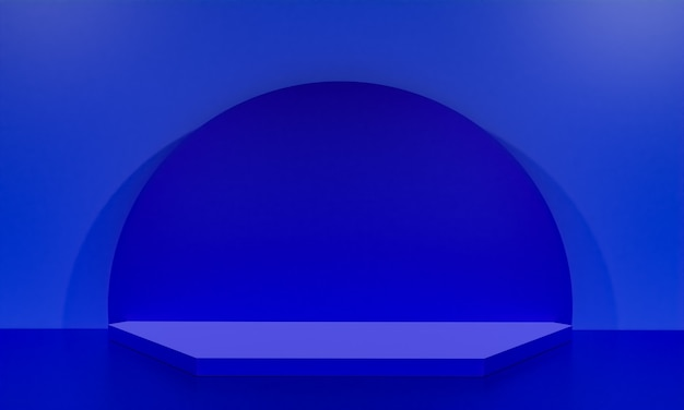 Scena z podium w kolorze niebieskim do prezentacji makiety w stylu minimalizmu z przestrzenią do kopiowania, 3d renderowania abstrakcyjnego projektu tła